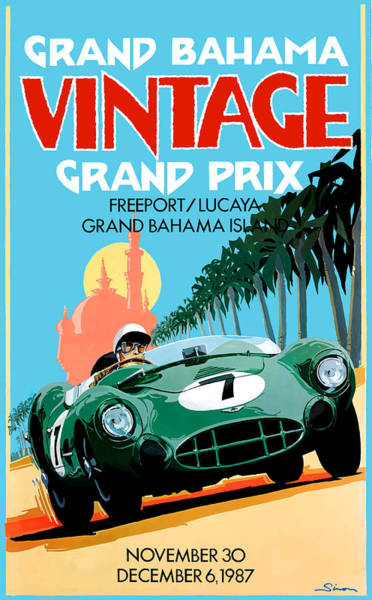 Wall Art - Digital Art - 1987 Grand Bahama Vintage Grand Prix Race Poster by Retro Graphics