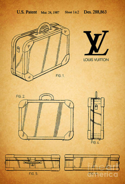 Vintage Patent Wall Art - Digital Art - 1987 Louis Vuitton Suitcase Patent 1 by Nishanth Gopinathan