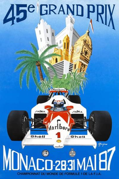Formula 1 Digital Art - 1987 Monaco Grand Prix Racing Poster by Retro Graphics