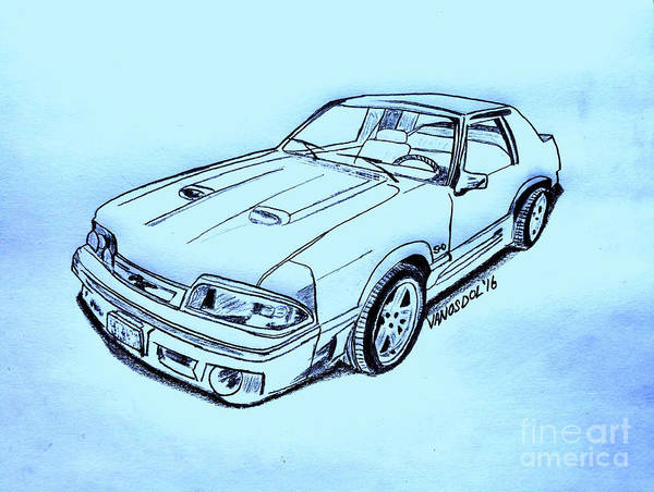 Quick Digital Art - 1987 Mustang Gt 5.0 - Blue Background by Scott D Van Osdol