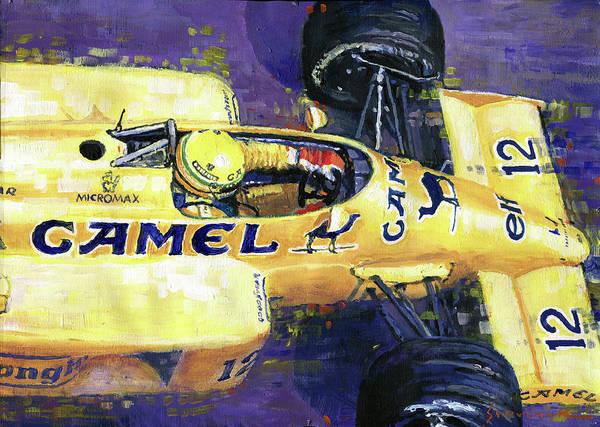 Wall Art - Painting - 1987 Spa Francorchamps Lotus 99t Ayrton Senna by Yuriy Shevchuk