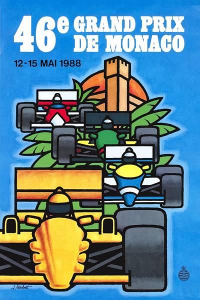 Formula 1 Digital Art - 1988 Monaco Grand Prix Racing Poster by Retro Graphics