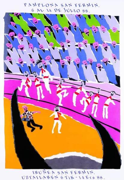Running Digital Art - 1988 Pamplona Spain Running Of The Bulls Poster by Retro Graphics