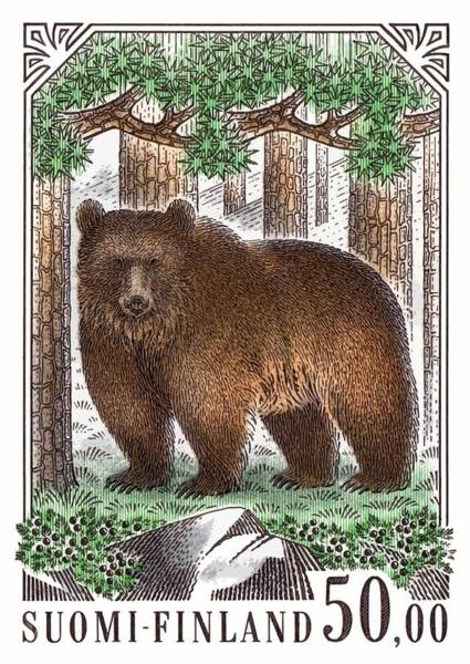 Wall Art - Digital Art - 1989 Finland Brown Bear Postage Stamp by Retro Graphics
