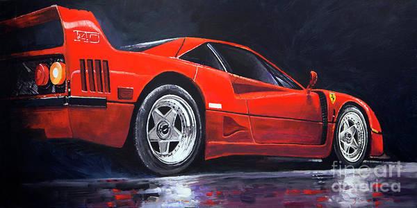 Wall Art - Painting - 1990 Ferrari F40  by Yuriy Shevchuk