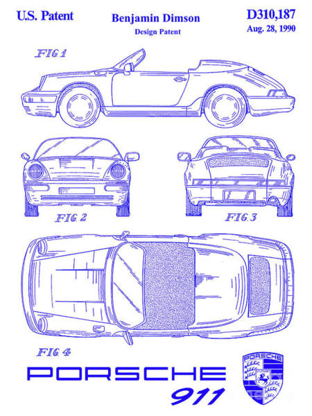 Wall Art - Photograph - 1990 Porsche 911 Patent Blueprint by Jon Neidert