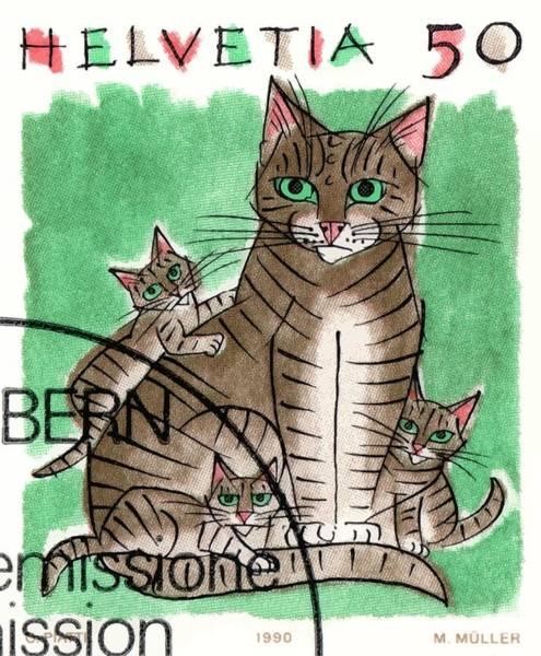 Feline Digital Art - 1990 Switzerland Cats Postage Stamp by Retro Graphics