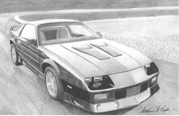 Car Drawings Mixed Media - 1991 Chevrolet Camaro Z28 Classic Car Art Print by Stephen Rooks