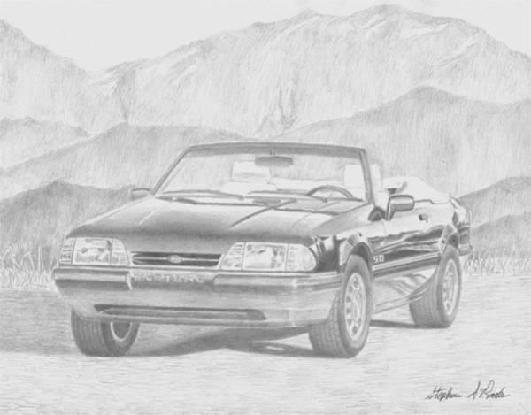 Mustang Convertible Mixed Media - 1991 Ford Mustang Lx Convertible Classic Car Art Print by Stephen Rooks