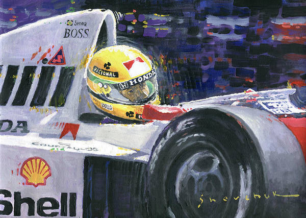 Wall Art - Painting - 1990 Mclaren Honda Mp4 5b Ayrton Senna World Champion by Yuriy Shevchuk