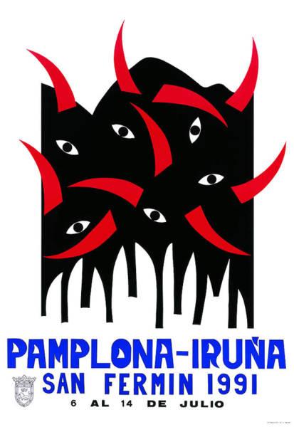 Running Digital Art - 1991 Pamplona Spain Running Of The Bulls Poster by Retro Graphics