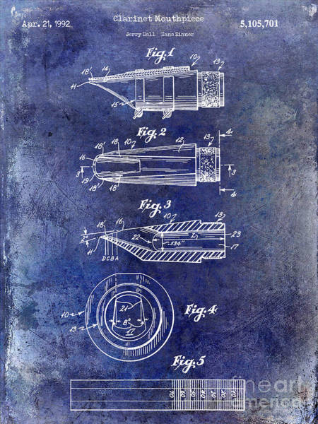 Clarinet Wall Art - Photograph - 1992 Clarinet Mouthpiece  Patent Blue by Jon Neidert