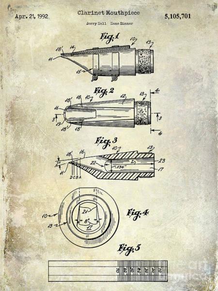 Clarinet Wall Art - Photograph - 1992 Clarinet Mouthpiece  Patent  by Jon Neidert