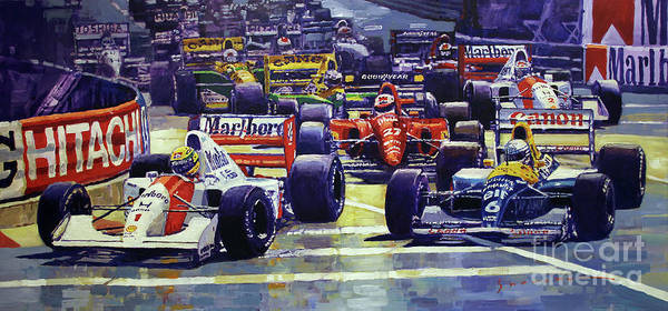 Wall Art - Painting - 1992 Monaco Gp Start  by Yuriy Shevchuk