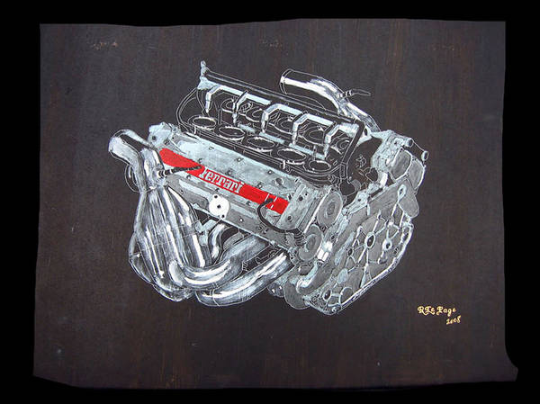 Painting - 1996 Ferrari F1 V10 Engine by Richard Le Page