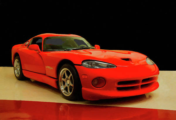 Painting - 1997 Dodge Viper Gts Red Digital Oil by Chris Flees