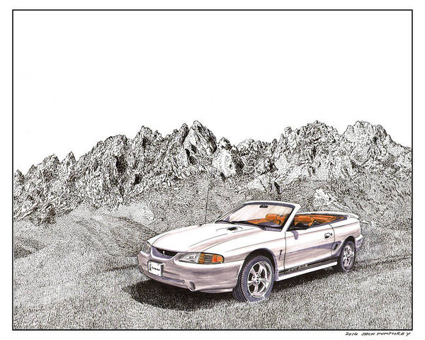 The Specials Drawing - 1997 Svt Mustang Cobra Convertible by Jack Pumphrey