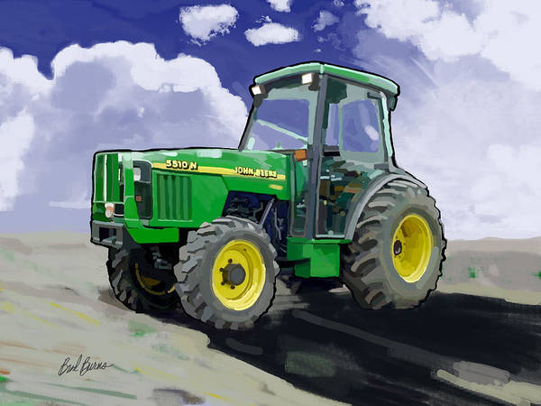Plowing Painting - 1998 John Deere 5510n Farm Tractor by Brad Burns