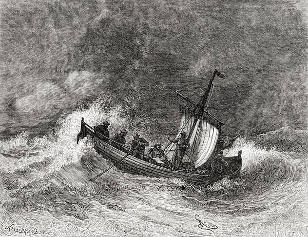 Stormy Drawing - 19th Century Fishing Boat In Stormy by Vintage Design Pics