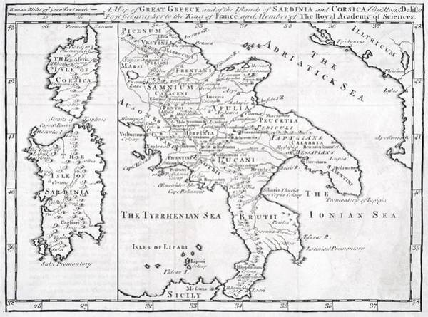 Wall Art - Drawing - 19th Century Map Of Great Greece And Of by Vintage Design Pics