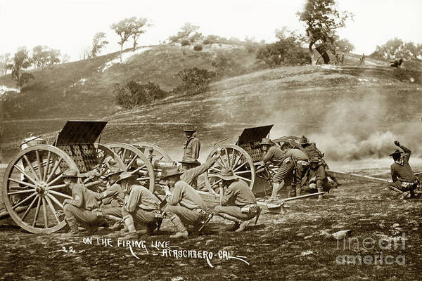 Photograph - 1st Battalion Of Field Artillery, California National Guard Circa 1908 by California Views Archives Mr Pat Hathaway Archives