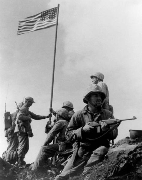 Mounted Photograph - 1st Flag Raising On Iwo Jima  by War Is Hell Store