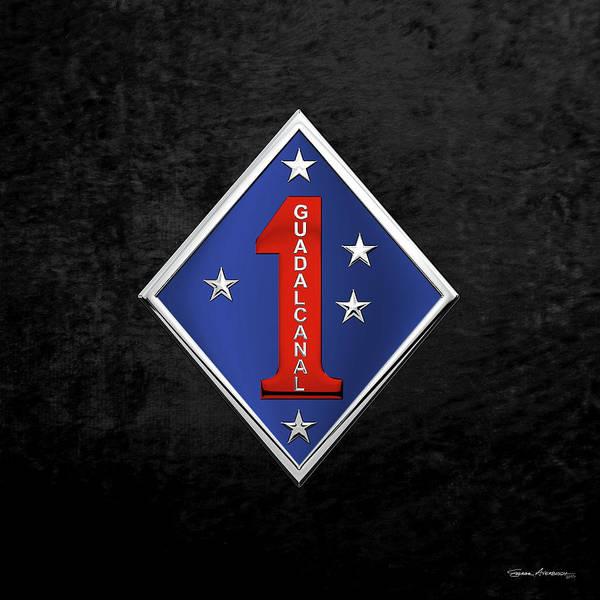Digital Art - 1st Marine Division -  1st  M A R D I V  Insignia Over Black Velvet by Serge Averbukh