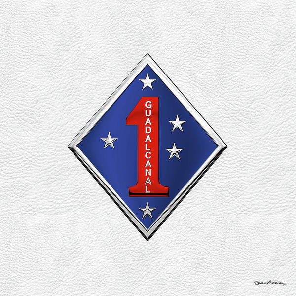Digital Art - 1st Marine Division -  1st  M A R D I V  Insignia Over White Leather by Serge Averbukh