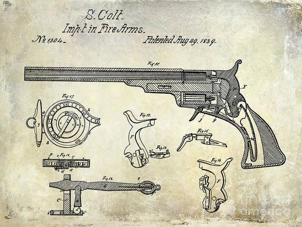 Antique Firearms Wall Art - Photograph - 1839 Colt Firearms Patent  by Jon Neidert
