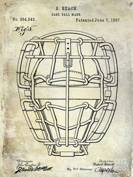 Wall Art - Photograph - 1887 Baseball Mask Patent  by Jon Neidert