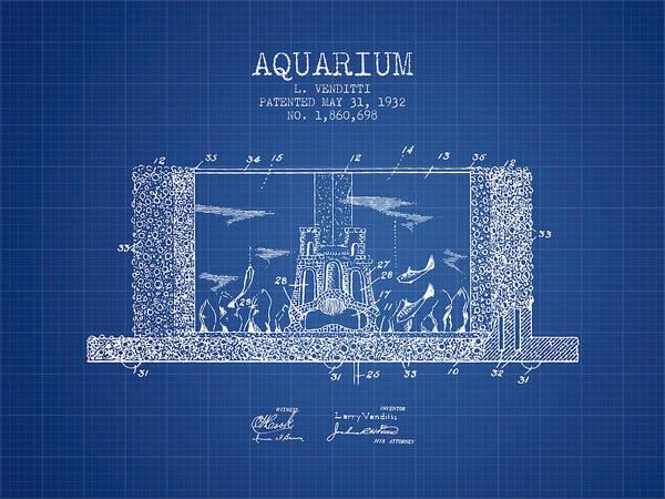 Aquarium Digital Art - 1932 Aquarium Patent - Blueprint by Aged Pixel