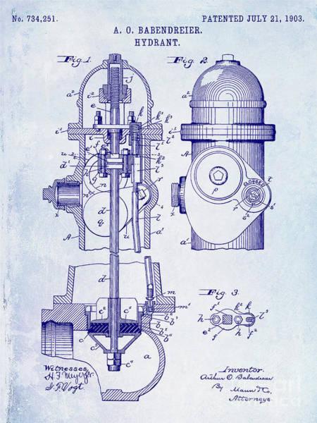 Fire Station Wall Art - Photograph - 1903 Fire Hydrant Patent by Jon Neidert
