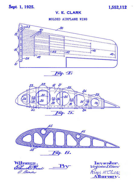 1924 Photograph - 1925 Airplane Wing Patent by Jon Neidert