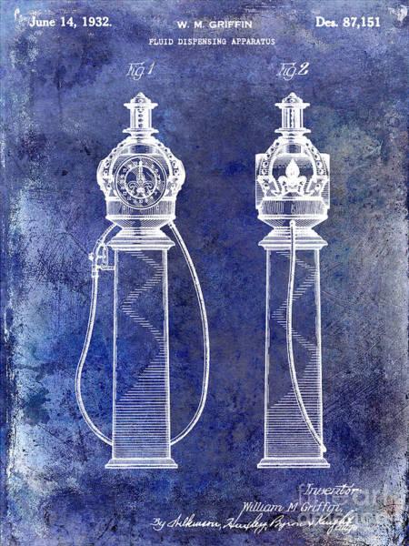 Oil Pump Photograph - 1932 Gas Pump Patent Blue by Jon Neidert
