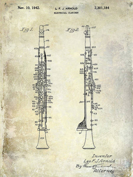 Clarinet Wall Art - Photograph - 1942 Electric Clarinet Patent  by Jon Neidert