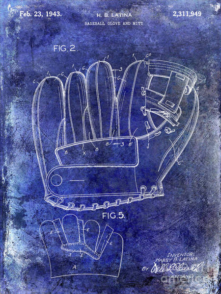 Wall Art - Photograph - 1943 Baseball Glove Patent by Jon Neidert