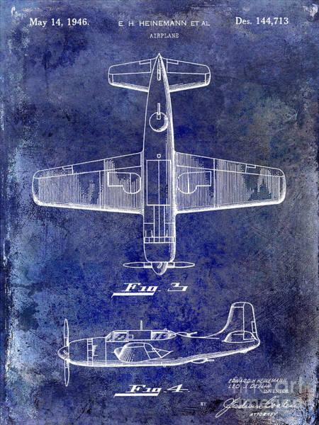 Vintage Airplane Photograph - 1946 Airplane Patent Blue by Jon Neidert