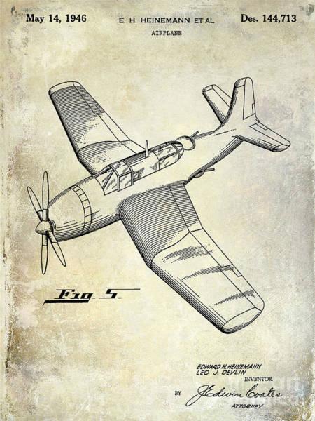 Vintage Airplane Photograph - 1946 Airplane Patent by Jon Neidert