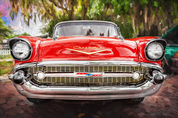 V8 Engine Photograph - 1957 Chevrolet Bel Air 283 Painted by Rich Franco
