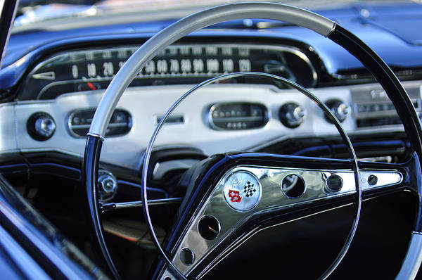 Steering Wheel Wall Art - Photograph - 1958 Chevrolet Impala Steering Wheel by Jill Reger