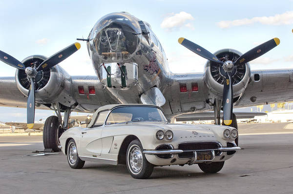 B-17 Bomber Photograph - 1962 Chevrolet Corvette by Jill Reger