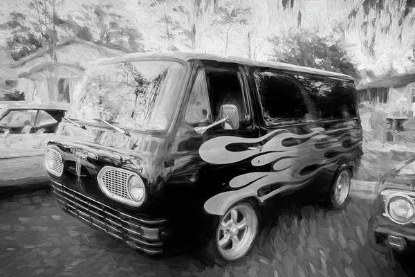 Ford Van Photograph - 1962 Ford Econoline Van Bw by Rich Franco