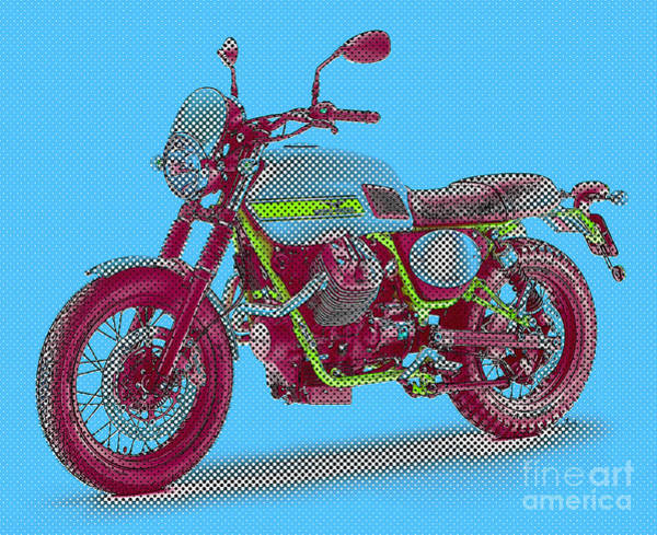 Cyan Digital Art - 2016 Moto Guzzi V7ii Stornello - Warhol Style by Drawspots Illustrations