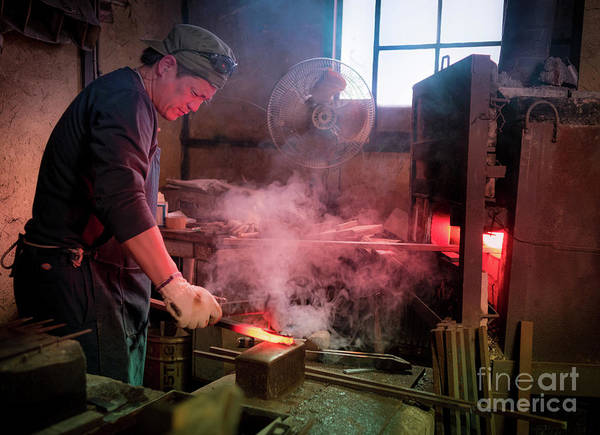 Art Print featuring the photograph 4th Generation Blacksmith, Miki City Japan by Perry Rodriguez
