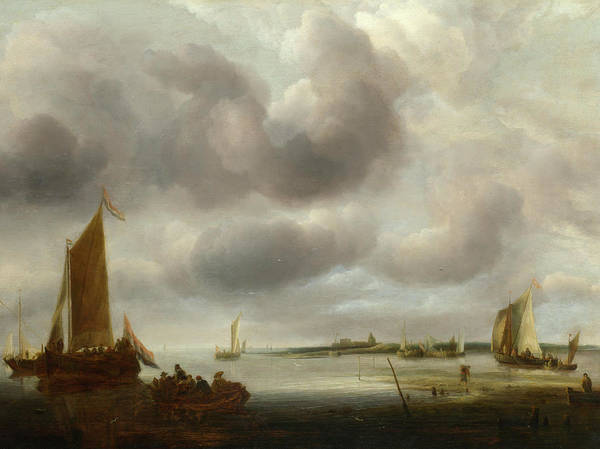 Ocean Scape Painting - A Coast Scene by Jan van de Cappelle