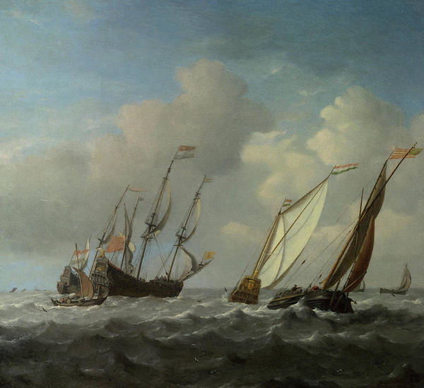 Ocean Scape Painting - A Dutch Ship, A Yacht And Smaller Vessels In A Breeze by Willem van de Velde