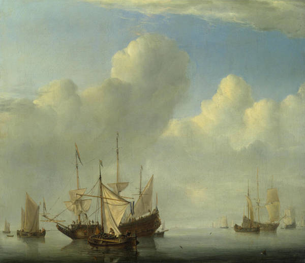 Ocean Scape Painting - A Dutch Ship Coming To Anchor by Willem van de Velde