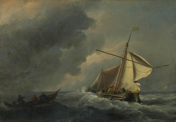 Gloomy Painting - A Dutch Vessel In A Strong Breeze by Willem van de Velde