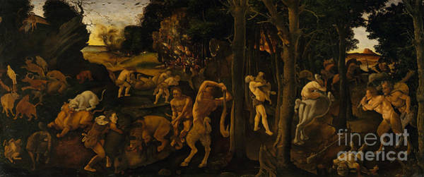 Pulling Painting - A Hunting Scene by Piero di Cosimo
