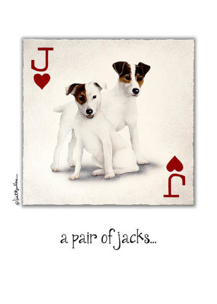 Jack Russell Wall Art - Painting - A Pair Of Jacks... by Will Bullas